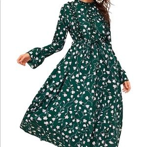 Floral Print Long Sleeve Belted Dress
